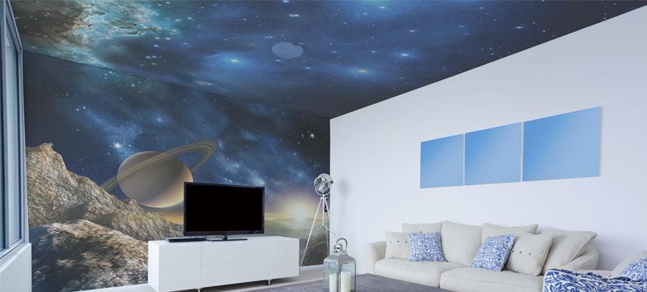 Amenajare tavan si perete cu fototapet